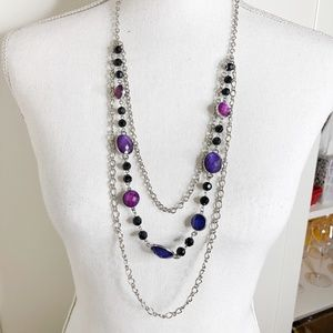 Purple and Silver Chain Layered Statement Necklace